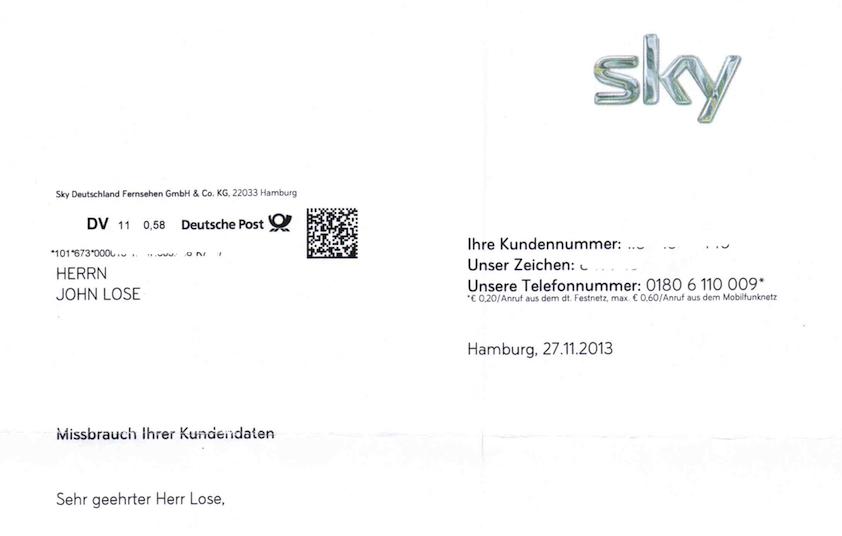 Sky.De/Kontoauszug